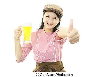 Waitress carrying beer - Smiling waitress with thumbs up