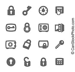 Keys and locks icons - Simple set of keys and locks related...