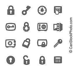 Keys and locks icons - Simple set of keys and locks related...