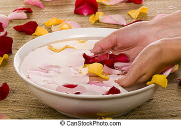 Preparing for rose petal spa