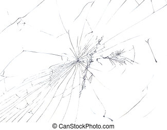 Broken Window Cutout - Cracked Glass Isolated on White...
