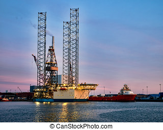 Oil rig in Esbjerg harbor, Denmark - Panorama of Oil rig in...