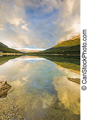 Sunset on Wapta lake in Mountains of Banff