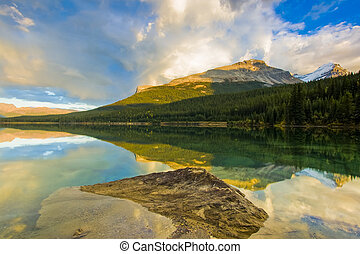 Sunset on Wapta lake in Mountains of Banff