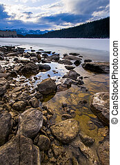 Rocky shore of Lake Louise, Banff