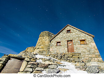 Stone Cabin on the Mountain Summit