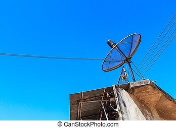 Satellite dish on roof old