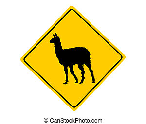 Llama warning sign