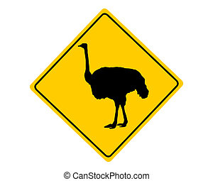 Ostrich warning sign