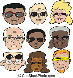 People in Sunglasses - Diverse faces of people wearing...