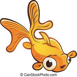 Goldfish Pet Cartoon Character - A small golden pet fish...