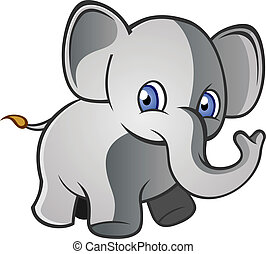 Baby Elephant Cartoon Character - A baby elephant with big...