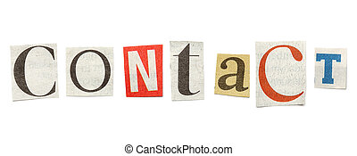 Contact, Cutout Newspaper Letters - Contact - words composed...