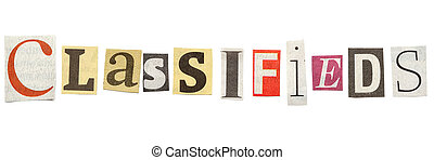 Classifieds, Cutout Newspaper Letters - Classifieds - words...
