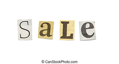 Sale, Cutout Newspaper Letters - Sale - words composed from...