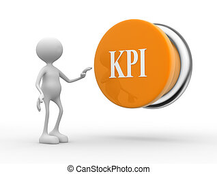 KPI ( Key Performance Indicator ) button - 3d people - man,...
