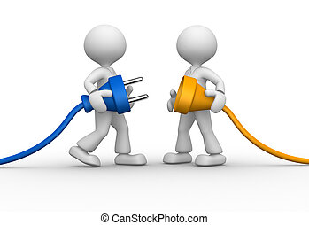 Electric plug - 3d people - men, person and electric plug