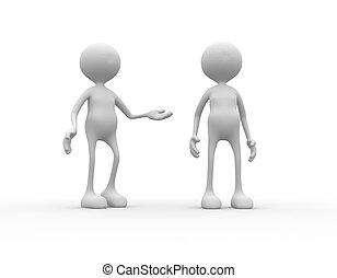 Recommendation - 3d people - man, person praises a...