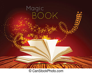 Opened book with magic light Vector illustration