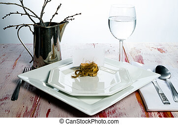 Casual rustic place setting - A casual and rustic place...