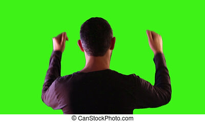Man cheering with green screen