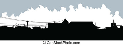 Glencoe, Ontario - Skyline silhouette of the village of...