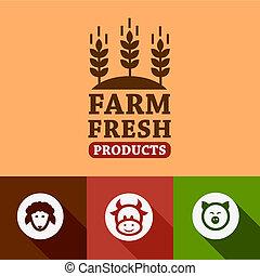 flat farm products emblems