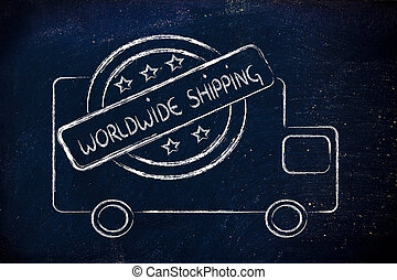 free worldwide shipping truck design - logo for an...