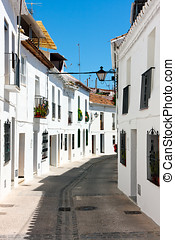 Mijas streets, Spain - Mijas streets, white washed homes,...