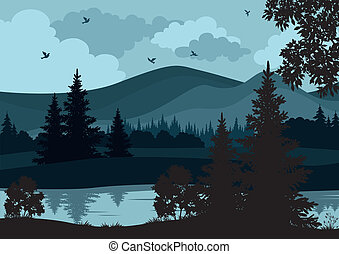 Landscape, trees, river and mountains - Night landscape,...