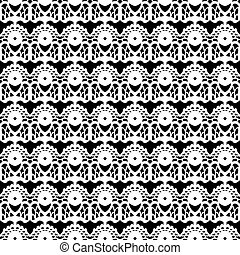 Lace white seamless pattern on black background.