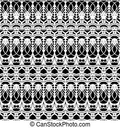 Lace white seamless mesh pattern on black background.