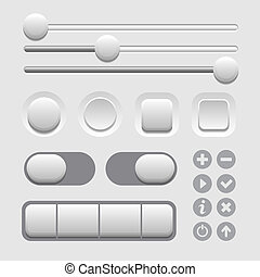 User Interface Elements Set on Light Background Vector...