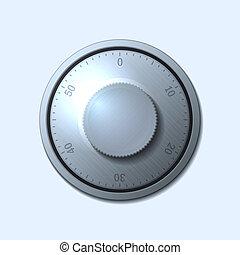 Combination lock wheel on light background Vector...