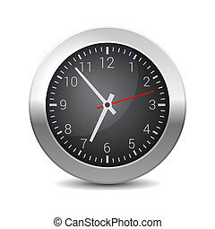 Round Office Wall Clock with Black Dial. Vector