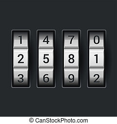Combination lock number code on dark background Vector...
