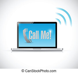 call me message on a computer illustration design over a...