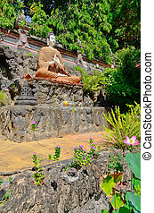 buddha statue in bali indonesia temple