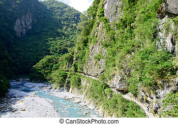 River in Toroko Gorge Marble Canyon in Taiwan - River in...