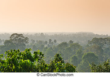 sun set over the jungle and some ruins at Angkor Wat Area in...
