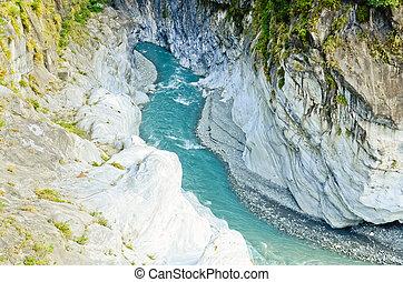 Rocky River in Toroko Gorge in Taiwan