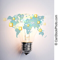 Light Bulb with world map of social network