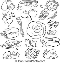 vegetables - Vector Illustration of vegetables in black and...