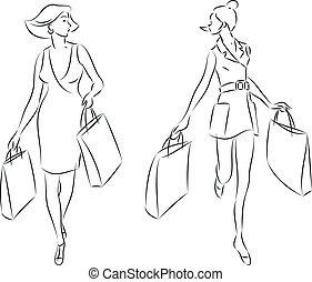 Shopping Women - vector illustration of women with shopping...