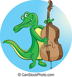 contrabass player - vector illustration of crocodile mascot...