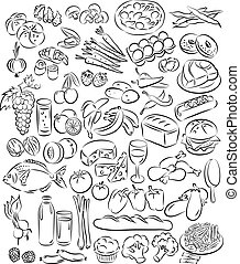 Foods - Vector illustration of food collection in black and