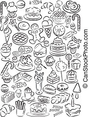 Sweets - Vector illustration of sweet food collection in...