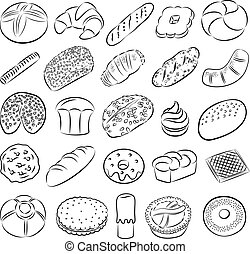 cookies and breads - Vector collection of bakery and pastry...