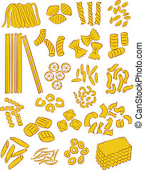 pasta - vector selection of different types of pasta