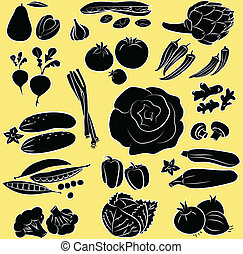 vegetables - Vector Illustration of vegetables in silhouette...